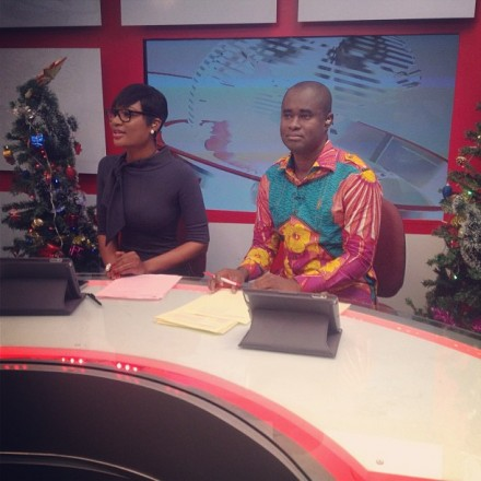 Christmas day topsy turvy: Sandra Ankobiah turns newscaster