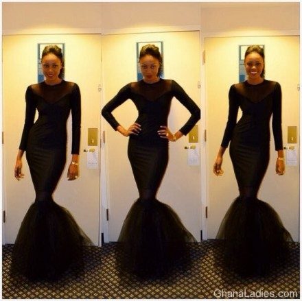 Checkout Yvonne Nelson's hour glass figure she flaunted in a black dress..Lovely!