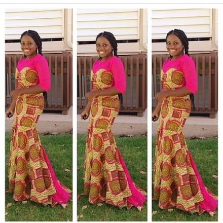 Long train African print worn by an African empress             …